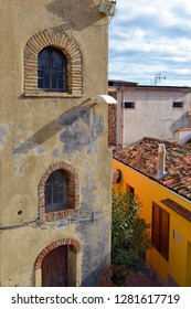Traditional colorful vintage architecture in small town in Sicily, Italy