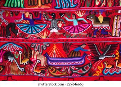 Traditional colourful Peruvian fabric