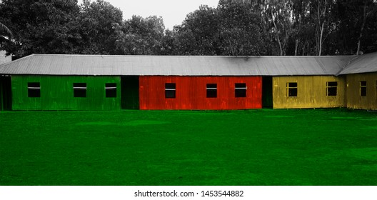 Traditional colourful tin shed house around an urban area