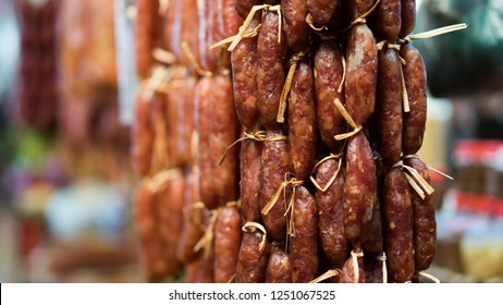 traditional Combodia sausage blow with the wind in the market