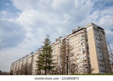 Traditional communist housing in the suburb of Belgrade, in New Belgrade. These kind of high rises are symbols of the brutalist architecture