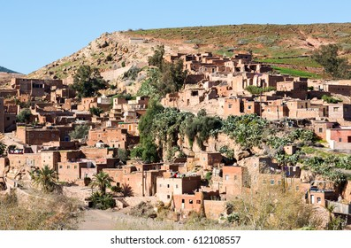 Traditional conservative berber village in Atlas mountains, Morocco. Horizontal crop