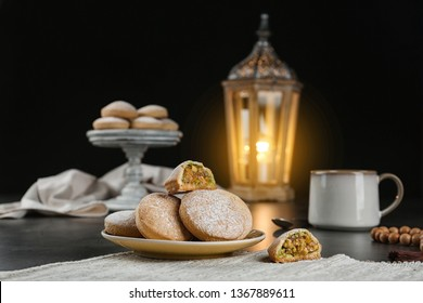Traditional cookies for Islamic holidays on table. Eid Mubarak