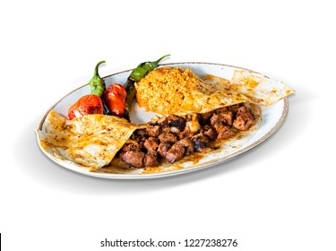 Traditional Cop Sis Kebab , White Background, with clipping path included (TR: Geleneksel Cop Sis Kebap )