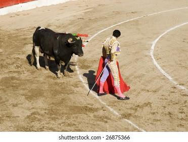 Traditional corrida (bullfighting)  in Spain