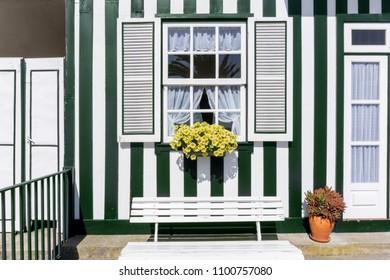 Traditional cottage at Fisherman's village Costa Nova. Aveiro. Portugal.