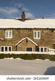 traditional cottage in snow,near Matlock, Derbyshire, Britain ,taken 27/12/2014