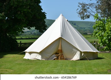 Traditional cotton canvas bell tent near the South Downs