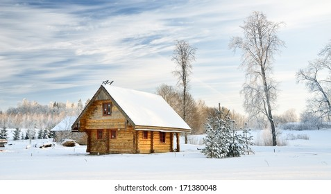 traditional countryside house in winter - Shutterstock ID 171380048