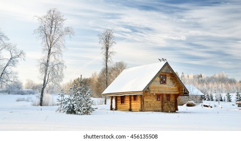 traditional countryside house in winter - Shutterstock ID 456135508