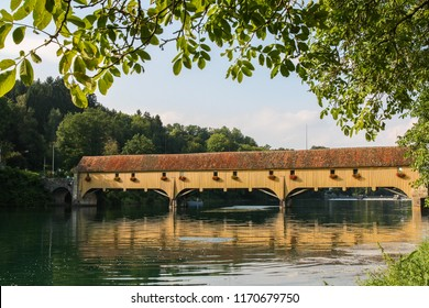 Traditional Covered Wood Bridge on the Rhine, connecting Switzerland and Germany