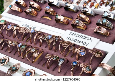 Traditional craft souvenirs from Bosnia and Herzegovina -Eastern style copper bracelets and rings