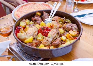 traditional croatian food peka with mix meat and vegetables