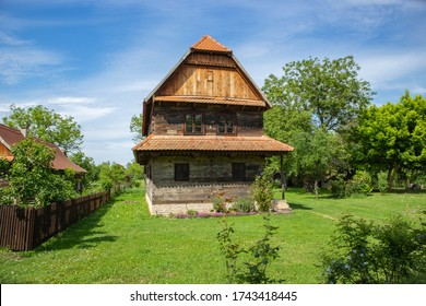 Traditional croatian wooden house, typical for Posavina region, around wetlands of Lonja Field, made from oak wood planks, important piece of national, cultural and architectural heritage of Croatia