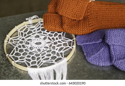 Traditional crochet, handwork, textile and clothing detail