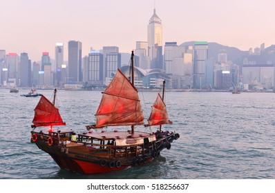Traditional cruise sailboat (Dukling) at Victoria harbor,Hong Kong.