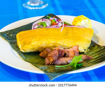 Traditional Cuban cuisine: Tamale, Tamal or Tamales which is a widely know Latin American corn dough meal.