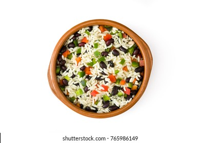 Traditional cuban rice, black beans and peppers isolated on white background top view. Moros y cristianos.