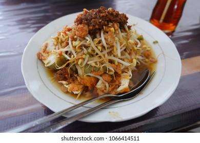"Traditional cuisine from Surabaya, East Java, Indonesia called ""Lontong Balap"""