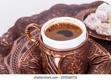Traditional cup of Turkish coffee with foam