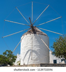 Traditional cycladic windmill at day time on Paros island, Cyclades, Greece