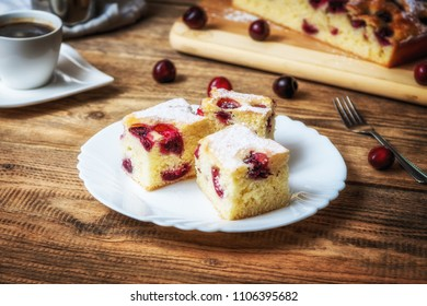 Traditional czech bubble cake or souffle with cherries