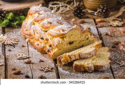 Traditional Czech Christmas cake, Vanocka, delicious breakfast for whole family full of nuts and almonds