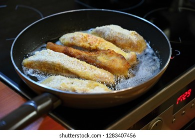 Traditional Czech Christmas Dinner. Fried fish - carp