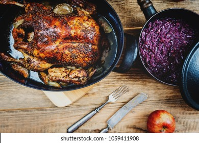 Traditional czech cuisine  baked duck with red cabbage and dumplings top view