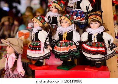 Traditional Czech dolls. Tourist souvenirs in the center of Prague.