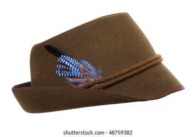 Traditional czech hunters hat with jay bird feather.
