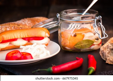 Traditional Czech sausages (wurst) in vinegar with onion and hot pepper (chilli).
