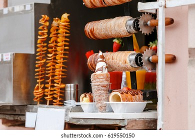 Traditional czech Trdelnik on a showcase in Prague shop