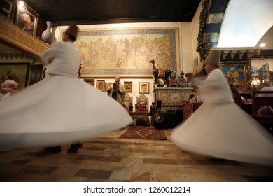 a traditional Dance in a restaurant in the market or souq in the old town in the city of Damaskus in Syria in the middle east.       Syria, Damascus, April, 2009