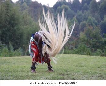 Traditional Dancer in Rwanda. Rugengeri, Rwanda, Africa 04-10-2017,