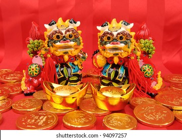 traditional dancing lion for lucky of Chinese New Year