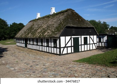 Traditional danish farm house or rural agriculture building. architecture from denmark in the countryside