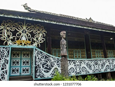 "Traditional dayaknese house called ""Rumah Panjang"" (Long House) sin Pulau Kumala, Kutai Kartanegara, Eastt Kalimantan, Indonesia."