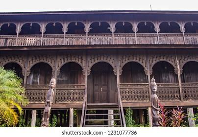 "Traditional dayaknese house called ""Rumah Panjang"" (Long House) sin Pulau Kumala, Kutai Kartanegara, Eastt Kalimantan, Indonesia."
