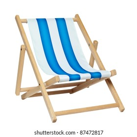 Traditional deck chair isolated against a white background. Includes clipping path.