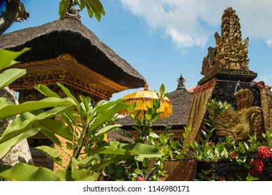 Traditional decorated Hindu temple buildings in Ubud, Bali.