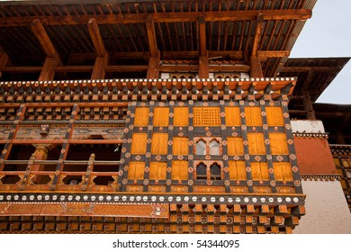 Traditional decorations on the Paro (Rinpung) Dzong in Bhutan