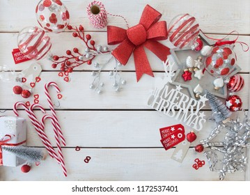 Traditional decorations and presents for a merry christmas