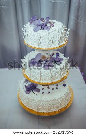 Traditional Decorative Wedding Cake Wedding Reception Stock Photo