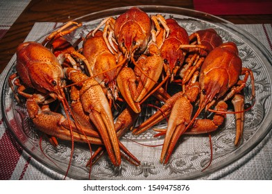 Traditional delicious dinner of boiled crayfish