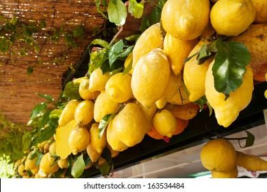 Traditional delicious Italian lemons on Capri island, Naples, Italy