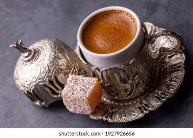 Traditional delicious Turkish coffee and Turkish delight