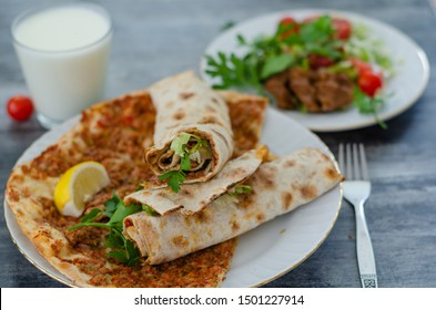 Traditional delicious Turkish food; Turkish lahmacun.top view.
