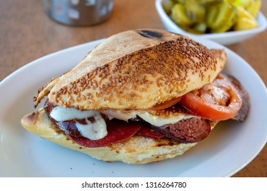 Traditional delicious Turkish foods; Izmir Cesme kumru sandwich