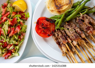 Traditional delicious Turkish foods; skewers cop sis